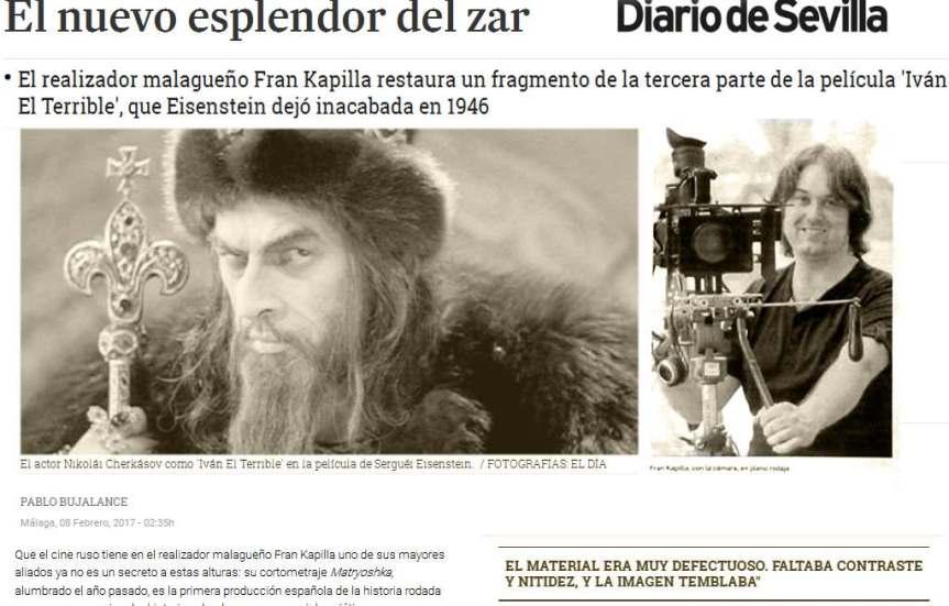 Varios periódicos: sobre mi Restauración del único fragmento (Ivan el Terrible 3) deEiseinstein