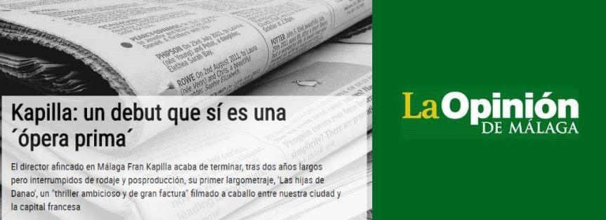 """Periódico LA OPINIÓN DE MÁLAGA (Presentación de """"Las hijas de Danao"""" en el Festival deMálaga)"""